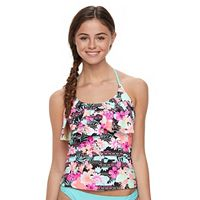 Mix and Match Tropical Strappy Flounce Tankini Top