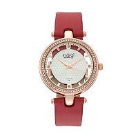 burgi Women's Diamond & Crystal Leather Swiss Watch