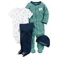 Baby Boy Carter's Striped Sleep & Play, Spaceship Bodysuit, Footed Pants & Hat Set