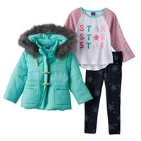 Girls 4-6x Only Kids Apparel Quilted Jacket, Raglan Tee & Jeggings Set