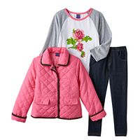 Girls 4-6x Only Kids Apparel Quilted Jacket, Tee & Jeggings Set