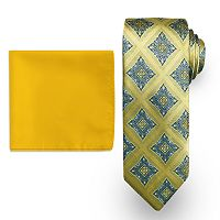 Men's Steve Harvey Medallion Tie & Solid Pocket Square