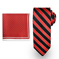 Men's Steve Harvey Satin Striped Tie & Dot Pocket Square