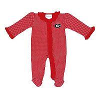 Baby Two Feet Ahead Georgia Bulldogs Pin Dot Footed Bodysuit