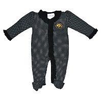 Baby Two Feet Ahead Iowa Hawkeyes Pin Dot Footed Bodysuit