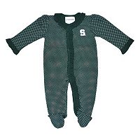 Baby Two Feet Ahead Michigan State Spartans Pin Dot Footed Bodysuit