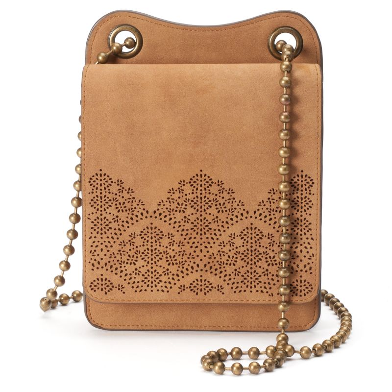 T-Shirt & Jeans Laser-Cut Mini Crossbody Bag, Women's, Med Beige