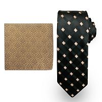 Big & Tall Steve Harvey Extra-Long Grid Tie & Brocade Pocket Square