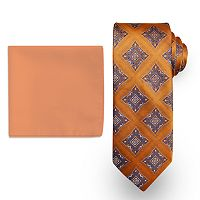 Big & Tall Steve Harvey Extra-Long Medallion Tie & Solid Pocket Square