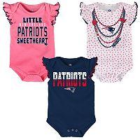 Baby New EnglandPatriots Polka Fan 3-Piece Bodysuit Set