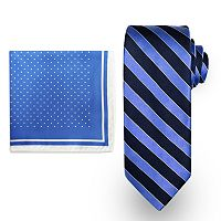 Big & Tall Steve Harvey Extra-Long Striped Tie & Dot Pocket Square