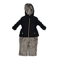 Baby Girl Pink Platinum Heavyweight Quilted Jacket & Cheetah Print Bib Snow Pants Set