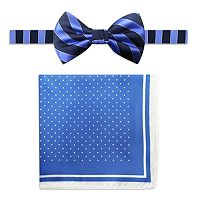 Men's Steve Harvey Striped Pre-Tied Bow Tie & Dot Pocket Square