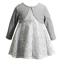 Baby Girl Youngland Sleeveless Lace Dress & Cardigan Set