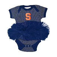 Baby Two Feet Ahead Syracuse Orange Pin Dot Tutu Bodysuit
