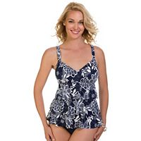 Women's Upstream Tummy Slimmer Floral Tiered Tankini Top