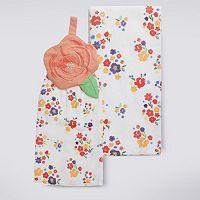 Celebrate Spring Together Floral Button-Top Kitchen Towel 2-pk.