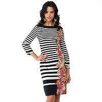 Women's Indication by ECI Striped Floral Sheath Dress