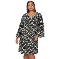 Plus Size Design 365 Printed Eyelet Swing Dress