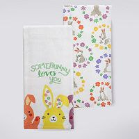 Celebrate Easter Together Floral Bunnies Kitchen Towel 2-pk.