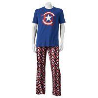 Men's Marvel Captain America Shield Tee & Microfleece Lounge Pants Set