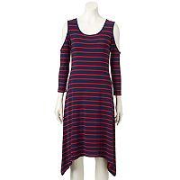 Women's Apt. 9® Striped Cold-Shoulder Shift Dress
