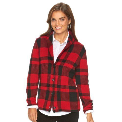 Women's Chaps Plaid Sweater Jacket