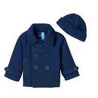 Toddler Boy Great Guy Navy Blue Fleece Peacoat with Hat