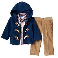 Baby Boy Great Guy Fleece Toggle Jacket, Plaid Shirt & Corduroy Pants Set