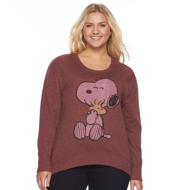 Juniors' Plus Size Peanuts Snoopy Graphic Fleece Sweatshirt, Girl's, Size: 2XL, Dark Red
