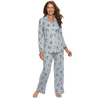 Women's Croft & Barrow® Pajamas: Knit Notch Collar PJ Set