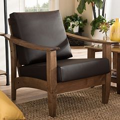 Baxton Studio Pierce Faux-Leather Lounge Chair by
