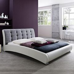 Baxton Studio Guerin Faux-Leather Two-Tone Tufted Queen Platform Bed by