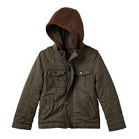 Boys 4-7 Urban Republic Hooded Sherpa-Lined Peached Twill Midweight Jacket