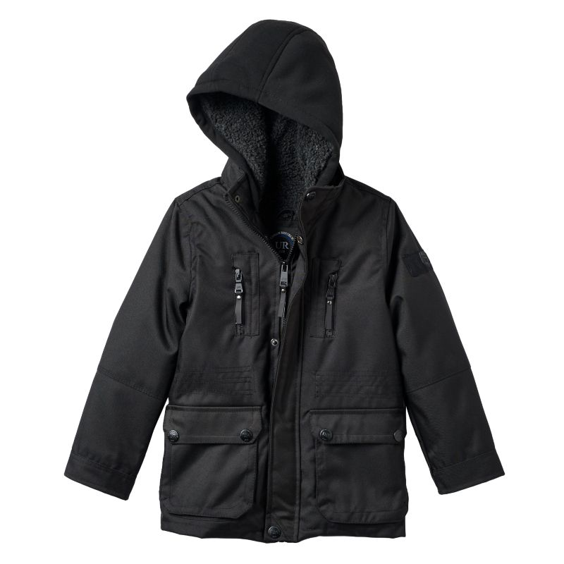 Toddler Boy Urban Republic Ballistic Hooded Sherpa-Lined Midweight Jacket, Size: 4T, Black