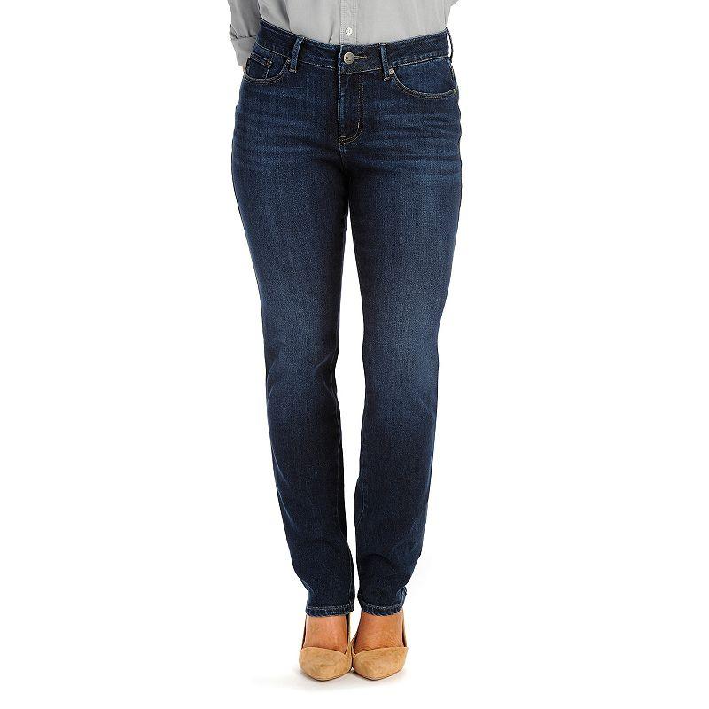 Petite Lee Modern Series Curvy Fit Straight-Leg Jeans, Women's, Size: Ps Short, Dark Blue