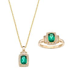 10k Gold Lab-Created Emerald & White Sapphire Halo Jewelry Set by Yellow-Gold Sets