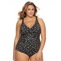 Plus Size Trimshaper Tummy Slimmer Control Ruched One-Piece Swimsuit