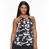 Plus Size Trimshaper Tummy Slimmer Splatter High-Neck Tankini Top