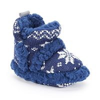 Baby Boy Skidders Sherpa-Lined Knit Booties