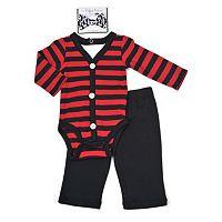 Baby Boy Vitamins Baby Faux-Cardigan Bodysuit, Pants & Bowtie Set