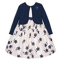 Girls 7-16 American Princess Embroidered Floral Dress & Cardigan Sweater Set