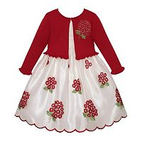Girls 7-16 American Princess Embroidered Floral Bouquet Dress & Cardigan Sweater Set