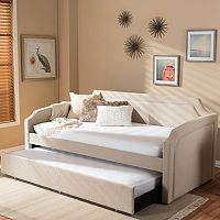 Baxton Studio Parkson Curved Linen Twin Daybed & Trundle
