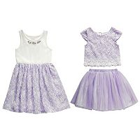 Girls 4-6x Youngland Textured Knit Dress, Skirt & Top Set