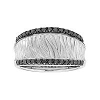 14k White Gold 3/8 Carat T.W. Black Diamond Textured Concave Ring