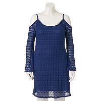 Juniors' Plus Size Wrapper Crochet Off The Shoulder Dress