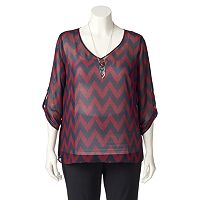 Juniors' Plus Size Wrapper Chevron V-Neck Top
