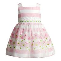 Toddler Girl Youngland Flower Embroidered Striped Dress