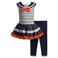Toddler Girl Youngland Sailor Collar Tutu Dress & Leggings Set